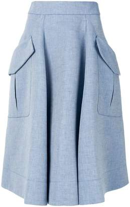 Carven Chambray midi skirt