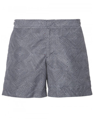 Orlebar Brown geometric print swim shorts $315 thestylecure.com