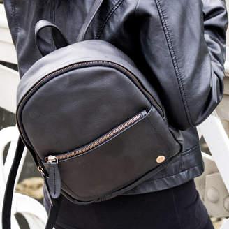 10b0f46c48a7 MAHI Leather Personalised Black Leather Mini Backpack