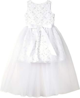 Badgley Mischka Collection 3D Flower Layered Dress