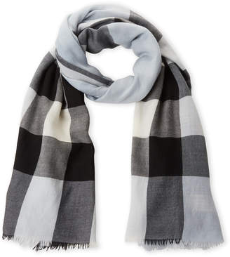 Burberry Black & Blue Check Cashmere Scarf