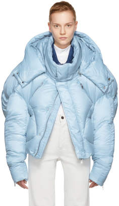 Chen Peng SSENSE Exclusive Blue Short Quilted Puffer Jacket