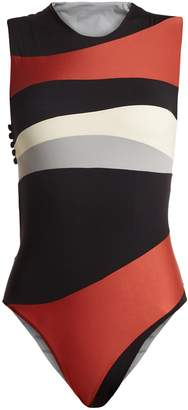 HAIGHT Cut-out contrast-panel swimsuit