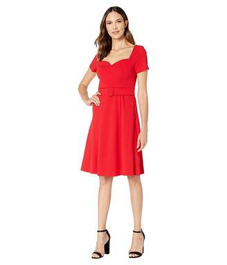 Donna Morgan Short Sleeve Open Neck Full Skirt Crepe Dress