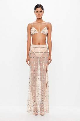 Missguided Nude Sequin Embellished Maxi Skirt
