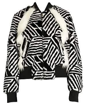 Off-White Women's Faux-Fur Zebra Monogram Bomber Jacket
