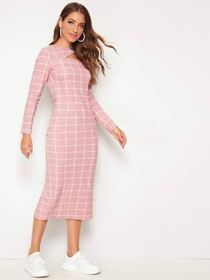 Shein Asymmetrical Neck Slit Back Grid Dress