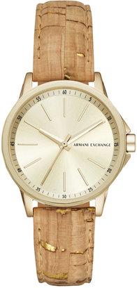 A|X Armani Exchange Women's Beige Cork Strap Watch 36mm AX4350 $120 thestylecure.com