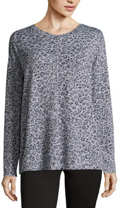 Liz Claiborne Long Sleeve Scoop Neck T-Shirt-Womens