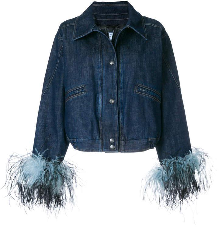 contrast cuff denim jacket
