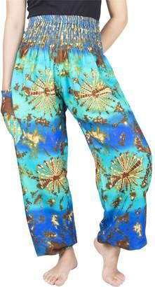 Lofbaz Women's Rayon Print Smocked Waist Boho Harem Pants 2XL