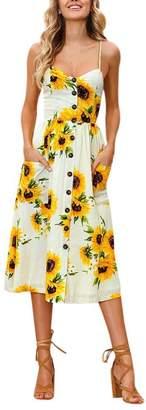 Forart Women's V-Neck Spaghetti Halter Floral Print Backless Beach Midi Dresses Empire Sundress