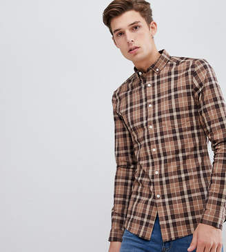 Asos DESIGN Tall skinny check shirt in brown
