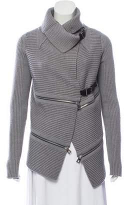 Barbara Bui Wool Rib-Knit Cardigan