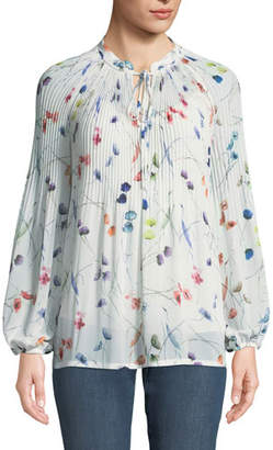Escada Split-Neck Long-Sleeve Watercolor-Print Blouse w/ Camisole
