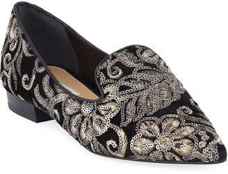 Badgley Mischka Mary Velvet Loafer with Sequins