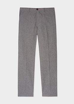 Paul Smith Men's Mid-Fit Grey Marl Stretch-Cotton Chinos