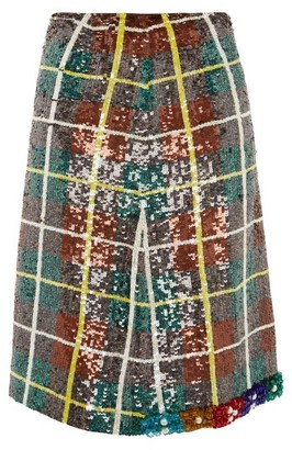 Ashish Bead Embellished Sequinned Plaid Skirt - Womens - Green Multi