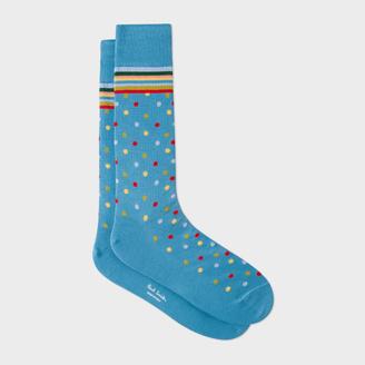 Men's Sky Blue Mixed Spot Socks $30 thestylecure.com