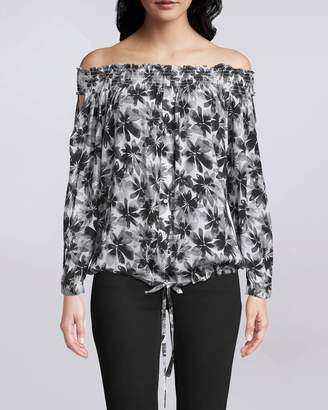 Nicole Miller Painted Flowers Smocked Off The Shoulder Top