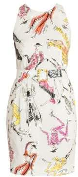 Moschino Women's Sleeveless Printed Sheath Dress - White - Size 36 (2)