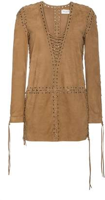 Saint Laurent Lace-up suede dress