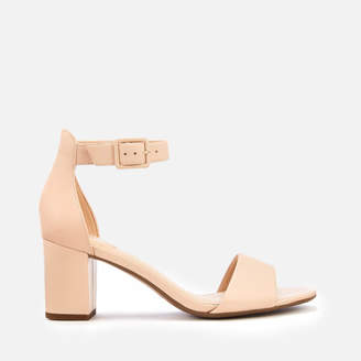 Clarks Women's Deva Mae Leather Block Heeled Sandals - Nude