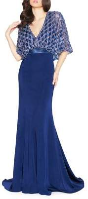 Mac Duggal Embroidered Cape-Bodice Gown