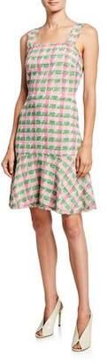 Kate Spade Plaid Sleeveless Tweed Flounce Dress
