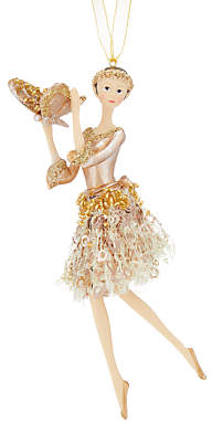 John Lewis & Partners Gold Sequin Ballerina Tree Decoration, Gold