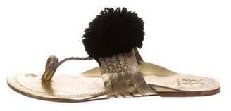 Figue Metallic Pom-Pom Sandals