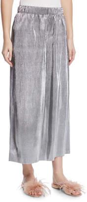 Kensie Wide-Leg Shiny-Plisse Midi Pants