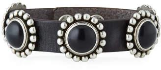 Saint Laurent Multi-Cabochon Leather Bracelet