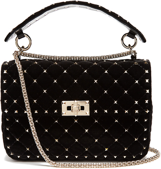 VALENTINO Rockstud Spike quilted-velvet shoulder bag $2,595 thestylecure.com