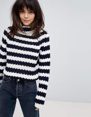 Paige Willow and Willow And Chunky Knit Roll Neck Sweater In Stripe