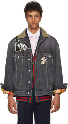 Gucci Black Logo Patch Denim Jacket