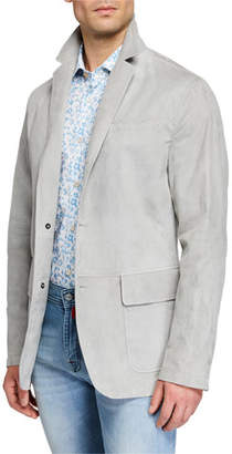 Kiton Men's Suede Three-Button Blazer