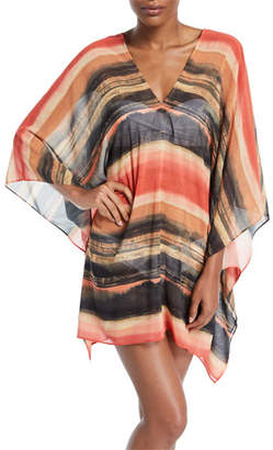 Carmen Marc Valvo Pacific Sunset Kimono-Sleeve Printed Chiffon Dress with Metallic