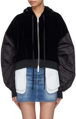 Taverniti So Ben Unravel Project Contrast extra long sleeve cropped velvet zip hoodie