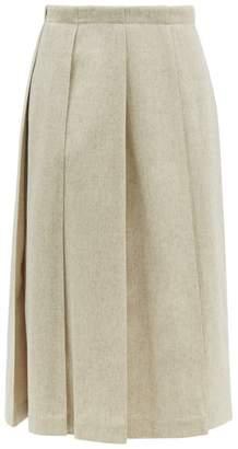 Jil Sander Tailored Wool Blend Pleated Skirt - Womens - Grey