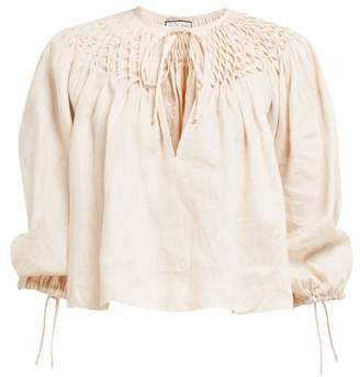 eda2ef814e774c Innika Choo Smocked Collar Linen Blouse - Womens - Light Pink