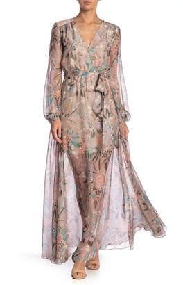 AAKAA Floral Chiffon Surplice Maxi Dress