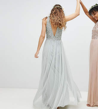 edd1216de0c454 Maya Sleeveless Sequin Bodice Tulle Detail Maxi Bridesmaid Dress With Cutout  Back
