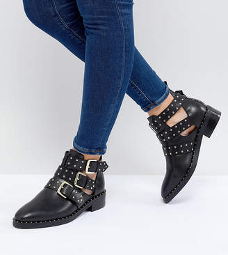Asos Design DESIGN Aries Wide Fit Leather Studded Ankle Boots