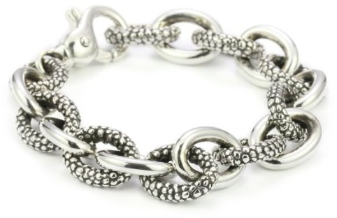 Zina Sterling Silver Combination Link Bracelet with Stingray Texture In Silver
