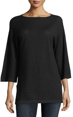 Neiman Marcus Cashmere Open-Weave Sweater Tunic