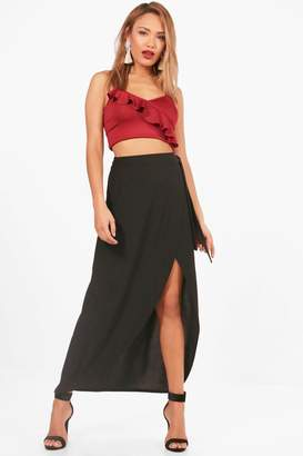 boohoo India Tie Waist Wrap Front Dipped Midi Skirt