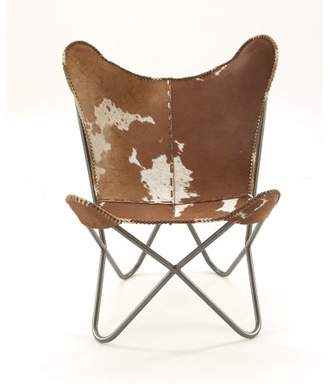 """DecMode 30"""" x 36"""" Light Brown Cowhide Chair w/ Silver Iron Scoop Chair Frame"""