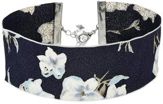 Steve Madden Material with Floral Pattern Choker Necklace Necklace