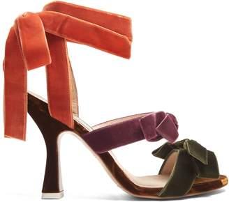 ATTICO Diletta bow-embellished velvet sandals